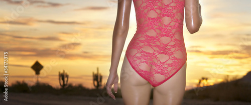 Beautiful sexy woman walking in lace lingerie through desert