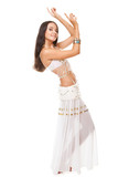 young woman posing arabic belly dance
