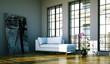 Wohndesign - Loft mit weissem Sofa