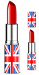 abstract UK lipsticks isolated on white background