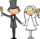 Fototapety Свадебная фотография, жених и невеста в любви, вектор