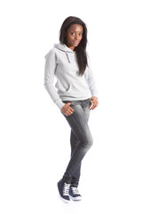African american teenage girl in jeans and hoodie