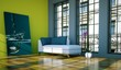 Wohndesign - Loft mit grüner Wand