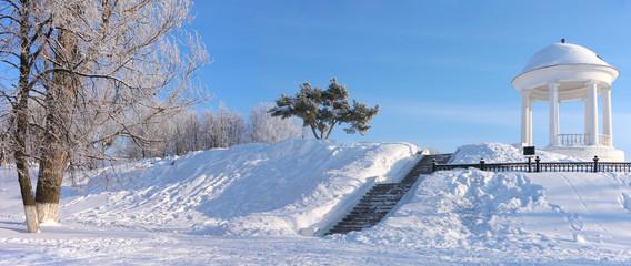 Pavilion of Ostrovsky, Kostroma city, Russia. Winter