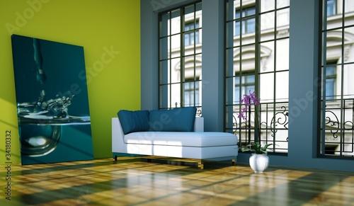 gamesageddon - wohndesign - loft mit grüner wand - lizenzfreie ... - Wohnzimmer Petrol Grun