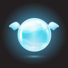 blue crystal ball with blue wings