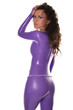 Sexy Female Wearing Purple Shiny Catsuit in The Studio