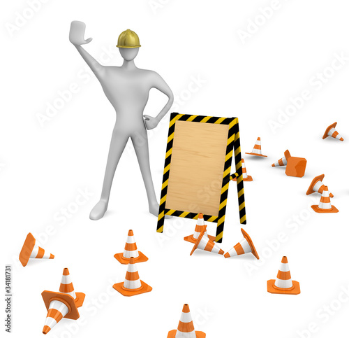 construction worker with traffic cones and empty board