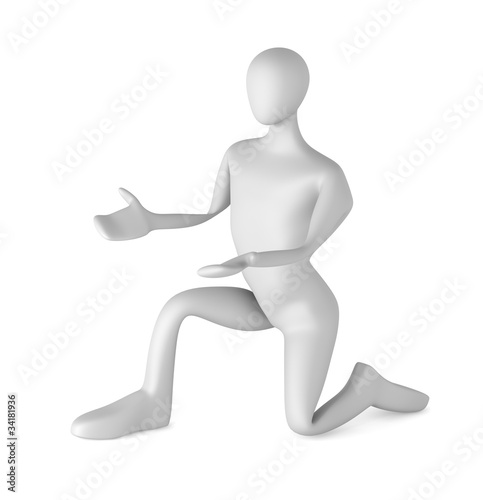 3d man on knees stretching out his arms