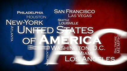 United States cities tag cloud flag USA text animation