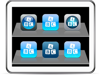 ABC cubes blue app icons.