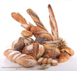 assortment of bread on white background