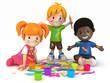 3D Render of Kids Painting