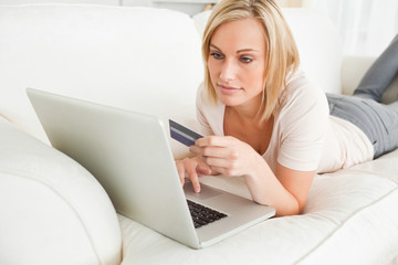 Woman booking holidays online