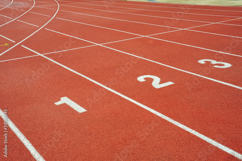 Abstract View Of  Running Track With Lane Numbers