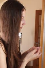 woman - mirror - makeup
