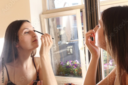 woman - mirror - makeup