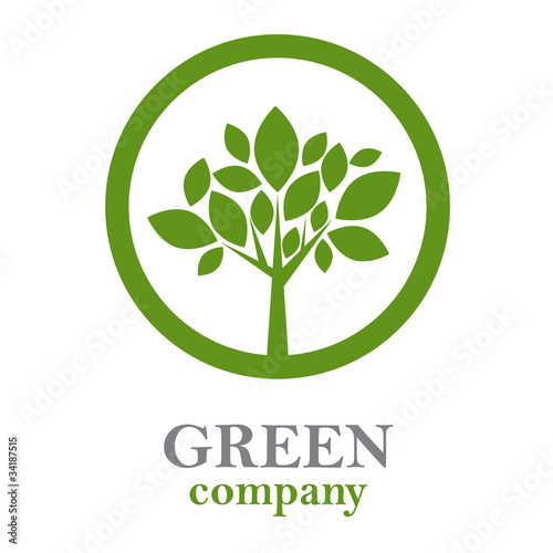 Logo green tree, forestry companies # Vector