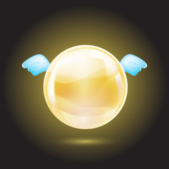 yellow crystal ball with blue wings