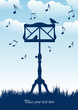 birds sitting on music stand