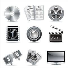 Cinema symbols vector set isolated on white.