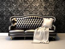 Skórzana kanapa w dekoracji wnętrz z tapetą
