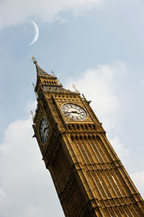 Big Ben with moon
