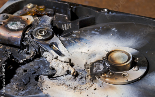 destroyed hard drive in close up view - 34189773