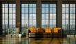 Wohndesign - braunes Ledersofa vor Fensterfront