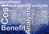 Cost benefit analysis background concept poster