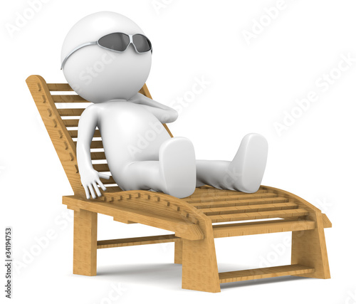 3D little human character relaxing.