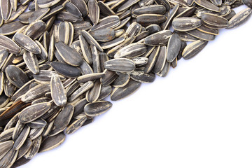 Grains of sunflower seed on white background