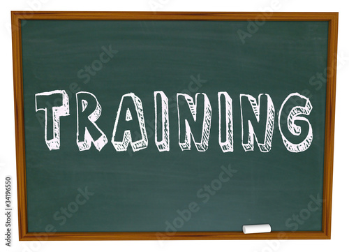 Training Word on Chalkboard - Get Trained in New Skills