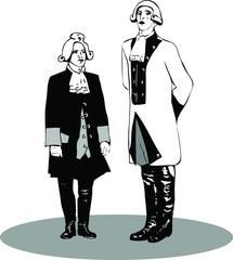 Two men in retro costumes