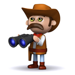 3d Sheriff checks the skies with his binoculars