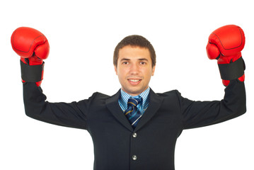 Cheerful winner business man