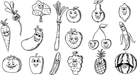 Мультфильм смешной фрукты и овощи