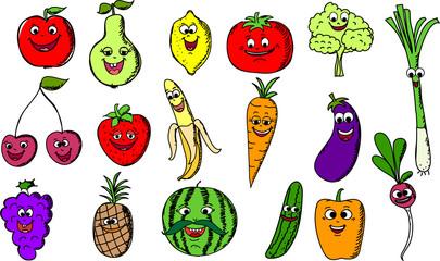 Установить мультфильм смешной фруктов