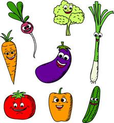 Установить смешной мультфильм овощей