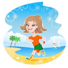 Girl running along the beach line