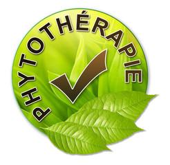 Label vert avec feuilles phytothérapie