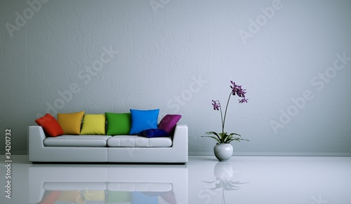 Wohndesign - weisses Sofa mit Kissen