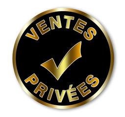 Label ventes privées noir et or