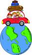 Постер, плакат: Семья в автомобиле на глобусе