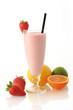 Leinwandbild Motiv Strawberry milkshake smoothie