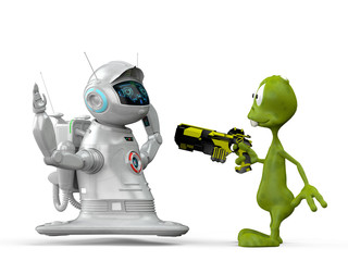 robot vs alien