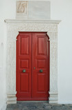 Red door museum, surrounded by marble.