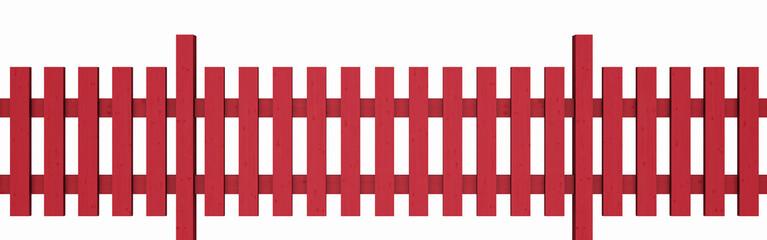 3D Holzzaun - rot freigestellt 01