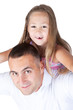 Father and little daughter over white
