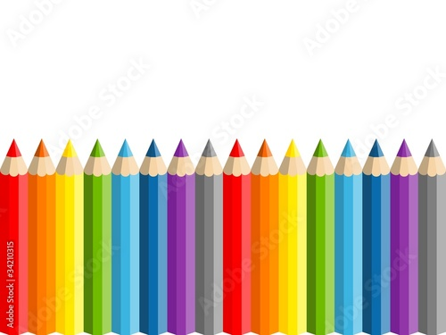 Row of vector color pencils